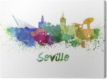 Leinwandbild Sevilla Skyline in Aquarell