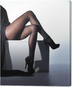 Leinwandbild Sexy Frauen Beine in schwarzen erotische Strümpfe und High Heels