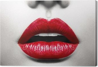 Leinwandbild Sexy Lips. Conceptual Image mit Vivid Red Geöffneter Mund