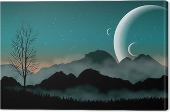 Leinwandbild SF Raum Nachthimmel mit Silhouette Bergen und nahe Planeten