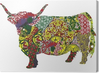 Leinwandbild Silhouette eines schottischen Hochland-Kuh in der keltischen Muster