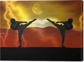 Leinwandbild Silhouette Illustration - Kampfkunst