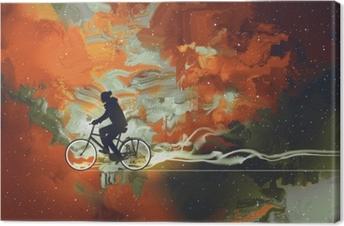 Leinwandbild Silhouetten des Mannes auf Fahrrad im Universum füllten, Illustrationskunst