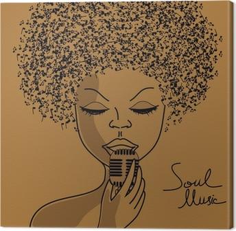 Leinwandbild Singer Silhouette mit Noten Haar