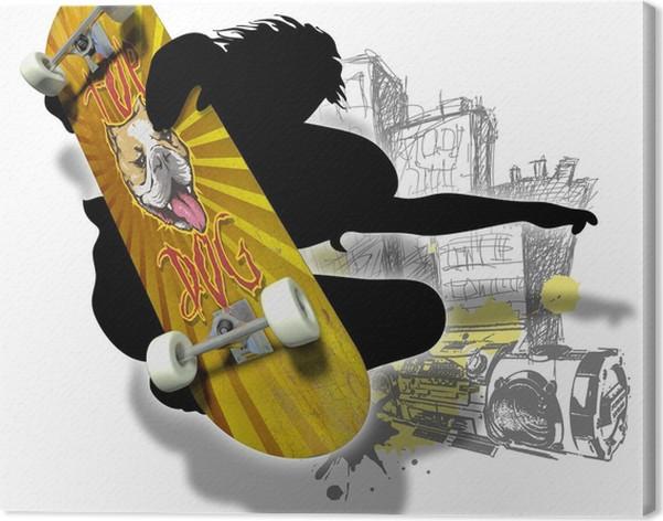 eab08f835ee8d8 Leinwandbild Skateboard mit Jungensilhoutte • Pixers® - Wir leben ...