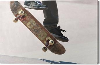 Leinwandbild Skateboarder Jumping Tricks