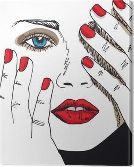 Leinwandbild Sketch der schönen Frau Gesicht. Vector illustration