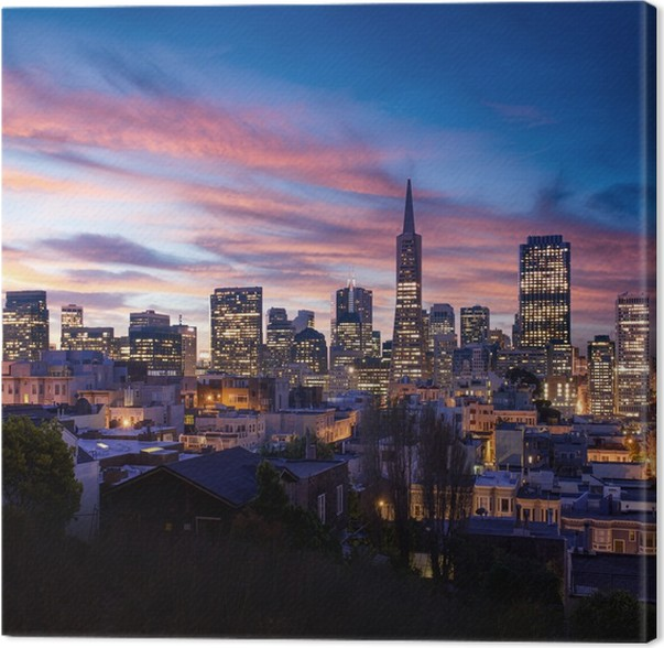 leinwandbild skyline von san francisco und bay bridge bei sonnenuntergang california pixers. Black Bedroom Furniture Sets. Home Design Ideas