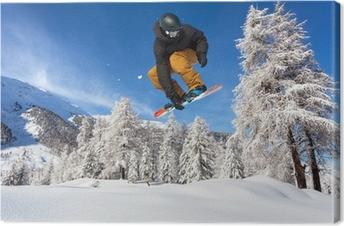 Leinwandbild Snowboarder in neve fresca