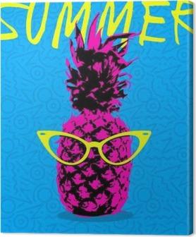 Leinwandbild Sommer-Design von Ananas mit Hipster Gläser