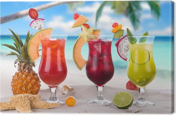 Leinwandbild Sommer Getränke am Strand • Pixers® - Wir leben, um zu ...