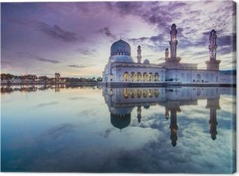 Leinwandbild Sonnenaufgang Stadt Moschee in Likas, Sabah, Malaysia