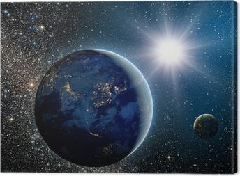 Leinwandbild Sonnenaufgang über dem Planeten und Satelliten im Weltraum.