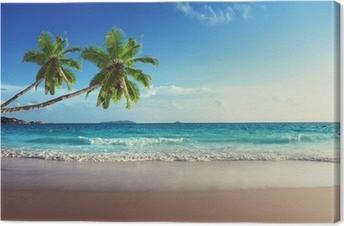 Leinwandbild Sonnenuntergang am Strand der Seychellen