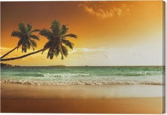 Leinwandbild Sonnenuntergang am Strand von caribbean sea