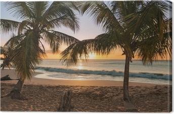 Leinwandbild Sonnenuntergang Strand Palmen Wellen