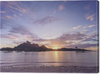 Leinwandbild Sonnenuntergang über Bora Bora