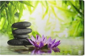 Leinwandbild Spa Stilleben mit Lotus und Zen-Stein auf dem Wasser