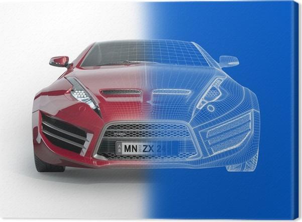 Leinwandbild Sportwagen Blaupause. Original Auto-Design. • Pixers ...