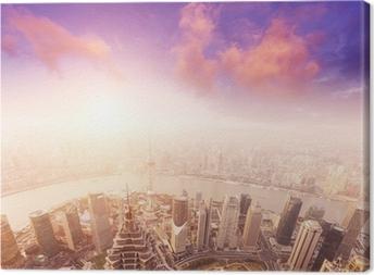 Leinwandbild Stadtbild von Shanghai, nebligen und trübe