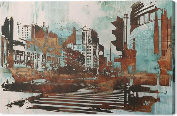 Leinwandbild Stadtlandschaft mit abstrakten Grunge, Illustration Malerei - Hobbys und Freizeit