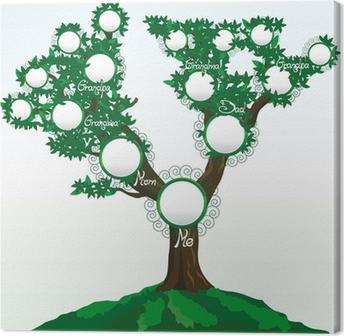 Leinwandbild Stammbaum mit Platz für Fotos oder Namen, Vektor