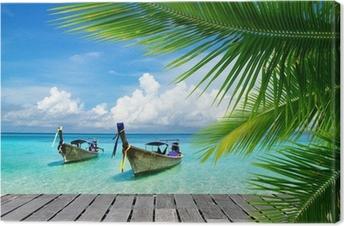 Leinwandbild Steg mit Blick auf das tropische Meer