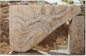 Leinwandbild Steinschnitzen von der griechischen Göttin Nike, Ephesus