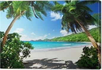 Leinwandbild Strand, Insel Mahe, Seychellen
