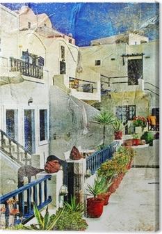Leinwandbild Straßen von Santorini - Kunstwerk im Malstil