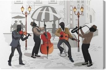 Leinwandbild Street cafe mit Musikern