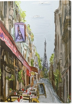 Leinwandbild Street in paris - illustration