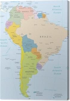 Leinwandbild Südamerika-sehr detaillierte map.Layers verwendet.