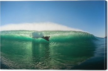 Leinwandbild Surfen Bodyboarder innen hohl Welle Colors