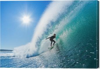 Leinwandbild Surfer on Blue Ocean Wave