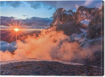 Leinwandbild Suset in Dolomiten, Italien