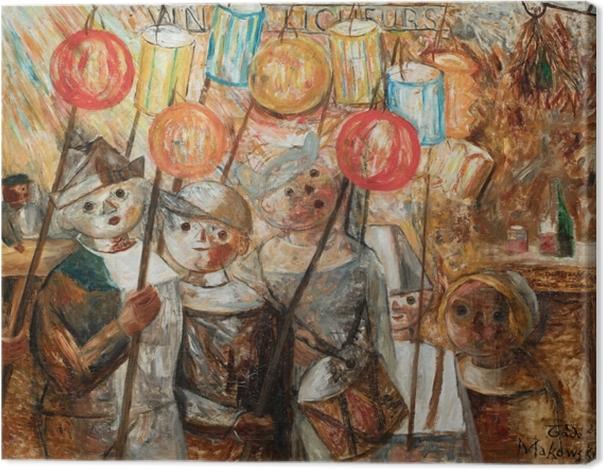 Leinwandbild Tadeusz Makowski - Kinder mit Fackeln - Reproductions