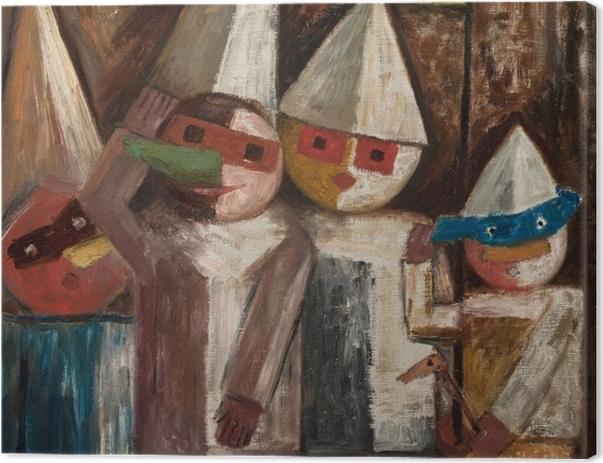Leinwandbild Tadeusz Makowski - Kinderkarneval mit einer Flagge - Reproductions