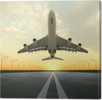 Leinwandbild Takeoff plane in airport bei Sonnenuntergang