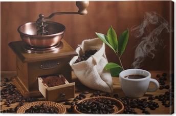 Leinwandbild Tasse Espresso Kaffeemühle mit Holz