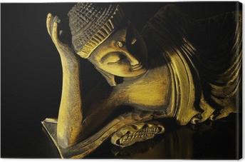 Leinwandbild Teak Holz liegenden Buddha auf schwarzem