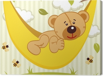 Leinwandbild Teddybär auf Hängematte - Vektor-Illustration