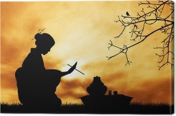 Leinwandbild Tee-Zeremonie bei Sonnenuntergang