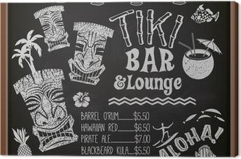 Leinwandbild Tiki Bar und Lounge-Cocktail-Menü-Tafel
