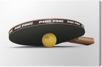 Leinwandbild Tischtennisschläger und Ball isoliert auf weißem Hintergrund