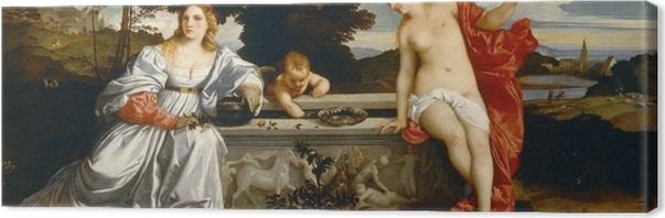 Leinwandbild Tizian - Himmlische und irdische Liebe - Reproduktion