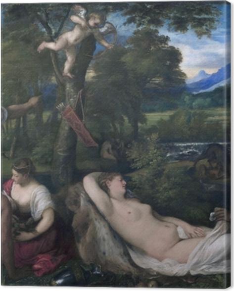 Leinwandbild Tizian - Jupiter und Antiope - Reproduktion