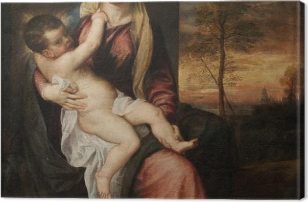 Leinwandbild Tizian - Madonna mit dem Kind in einer Abendlandschaft - Reproduktion