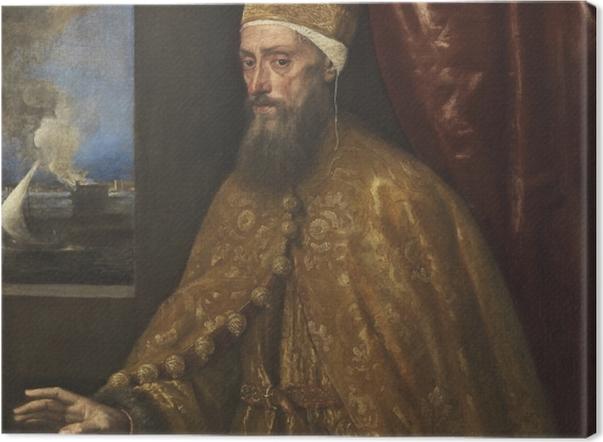 Leinwandbild Tizian - Porträt des Dogen Francesco Venier - Reproduktion