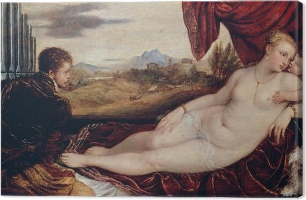 Leinwandbild Tizian - Venus mit dem Orgelspieler - Reproduktion